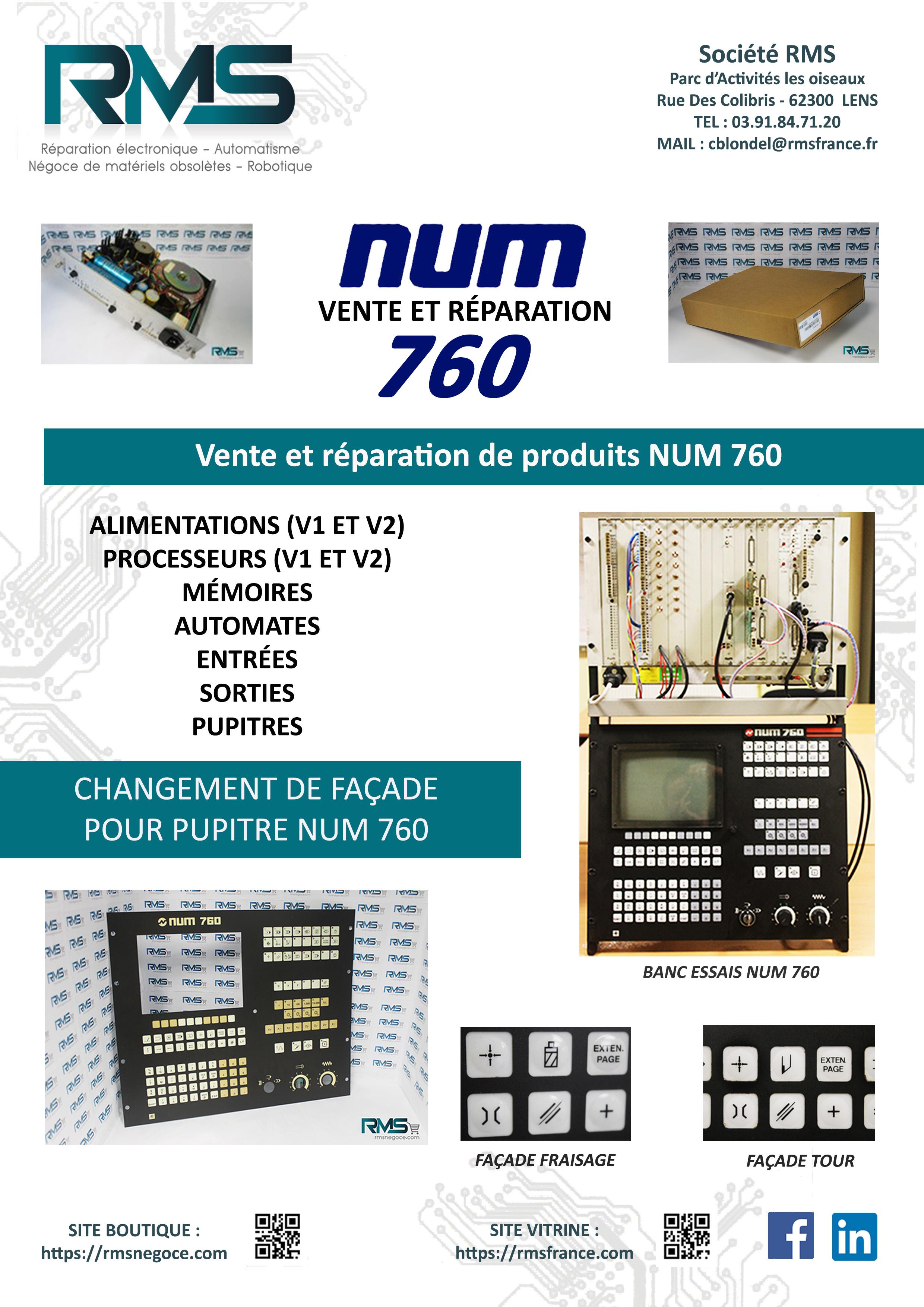 NUM 760 - NUM 1060 - REPARATION NUM - COMMANDE NUMERIQUE - RMSNEGOCE