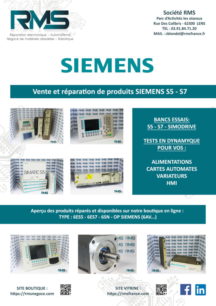 SIEMENS S5 - SIEMENS S7 - REPARATION SIEMENS - SIEMENS SINUMERIK - RMSNEGOCE